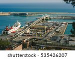 BARCELONA, SPAIN - DECEMBER 24, 2015:  Industrial port of Barcelona, aerial view. One of the largest port in Mediterranean. - stock photo