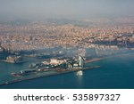 BARCELONA, SPAIN - DECEMBER 24, 2015: Port of Barcelona, aerial view. One of the largest port in Mediterranean. - stock photo