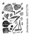 hand drawn drawing tools - stock vector