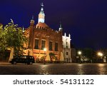 Old town in Gdansk at night - Poland - stock photo
