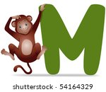 M for Monkey - Vector - stock vector