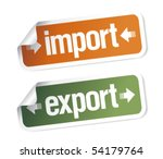 Import and export stickers set - stock vector