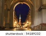 Gdansk at night - Golden Gate view - Poland - stock photo