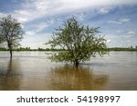 Flood at Wisla river in Poland - stock photo