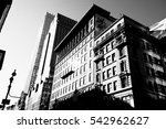 Manhattan streets and buildings in New York, NY. - stock photo