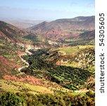the high atlas mountains in morocco - stock photo