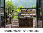 Outdoor terrace of the hostel is on a very quiet location in the north f the island of the Madeira. - stock photo