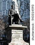 New York City, Manhattan William H. Seward governor statue.  - stock photo