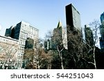 New York City, Manhattan streets and buildings, vintage photography style. - stock photo