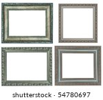 four silver frame on a white background - stock photo