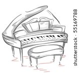 Grand Piano Sketch - Vector - stock vector