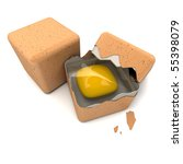 3D rendering of a pair of cubic shaped eggs with a broken one - stock photo