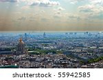 Smog in a large modern city, Paris. - stock photo