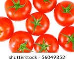 Lush tomatos , top view. Isolated - stock photo