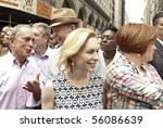 NEW YORK - JUNE 27: city council Cristine Quinn, US Senator Kirsten Gillibrand, Mayor Michael Bloomberg attend the 2010 New York City Gay Pride March on the streets of Manhattan on Jun 27, 2010 in NYC - stock photo