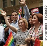 NEW YORK - JUNE 27: Andrew Cuomo, Kirsten Gillibrand, Cristine Quinn attend the 2010 New York City Gay Pride March on the streets of Manhattan on June 27, 2010 in New York City. - stock photo