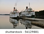 Two old ships in the harbor - stock photo