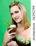 sexy woman holding mint chocolate dessert - stock photo