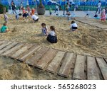 Kids playing in great sandbox, Sochi Park, Russia, June 1, 2016 - stock photo