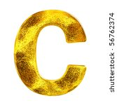 Gold letter - C - stock photo