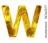 Gold letter - W - stock photo