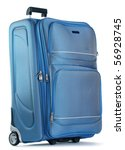 Blue travel bag isolated on white - stock photo