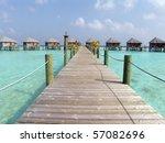 Bungalows at Maldives - stock photo