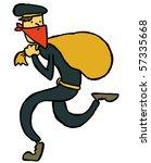 thief tiptoeing - stock vector