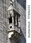 Details of Belem Tower (Torre de Belem), a UNESCO World Heritage Site, built in the 16th century - stock photo