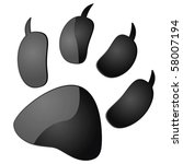 Glossy vector illustration of the outline of an animal paw print - stock vector