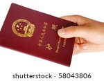Hand with passport, isolated on white background - stock photo