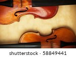 two old violin detail - stock photo