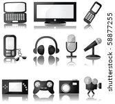 Jpeg set of glossy multimedia icons with reflection - stock photo