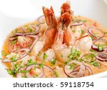 King shrimps with vegetables at cream sauce - stock photo