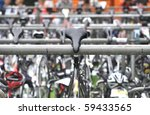 Saddle of a bicycle during a triathlon - stock photo