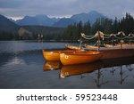 nice lake in hight mountains - stock photo