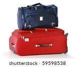 Luggage consisting of travel bag and large suitcase isolated on white - stock photo