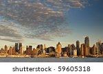 photo beautiful sunset evening over new york city - stock photo