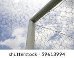 Soccer goal on the sky background top corner - stock photo