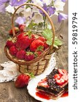strawberry cake and flower Bell - stock photo