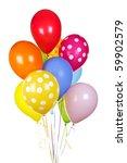 Colorful helium balloons isolated on white background - stock photo