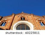 Viboldone abbey facade on blue sky, San Giuliano Milanese, Milan, Italy - stock photo