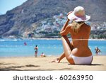 Beach scene. Playa de la Teresitas. Tenerife, Canaries - stock photo