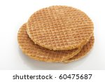 Dutch stroopwafels isolated on white background. - stock photo