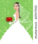 Raster version A beautiful brunette woman on her wedding day. Wedding Gown 5. - stock photo