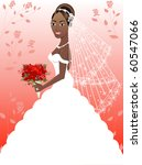 Raster version A beautiful black woman on her wedding day. Wedding Gown 4. - stock photo