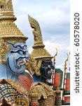 Thai sculpture fading to background - stock photo