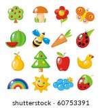 Nature-study children. Flora and fauna, natural phenomena. - stock vector