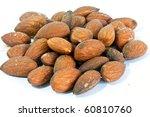 almonds with salt - stock photo