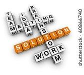 solution crossword (cubes crossword series) - stock photo